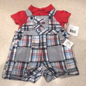 Little Me- 9 months boys overall set